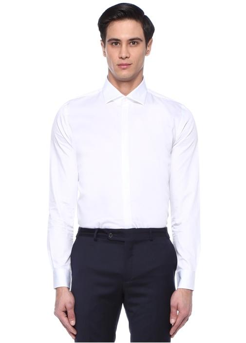 Slim Fit Beyaz Fransız Yaka Desenli Smokin Gömleği