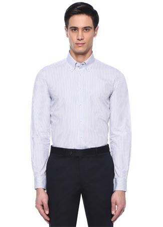Custom Fit Beyaz Lacivert Çizgili Gömlek