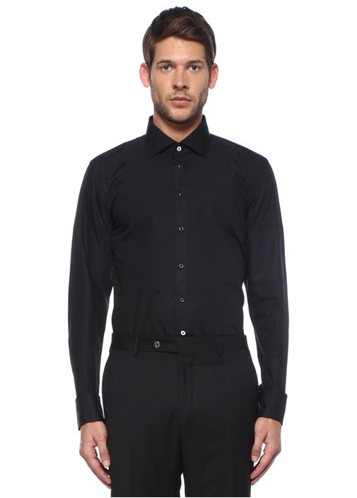 Slim Fit Siyah Garni Detaylı Smokin Gömleği