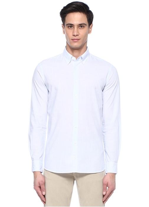Custom Fit Mavi Düğmeli Yaka Çizgili Gömlek
