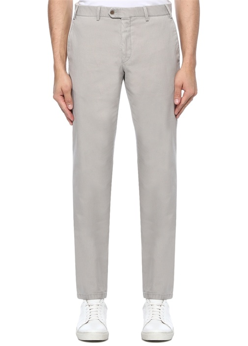 Drop 8 Gri Normal Bel Dokulu Chino Pantolon