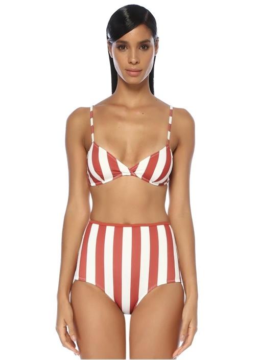 Brigitte Kiremit Beyaz Çizgili Kruvaze Bikini Üstü