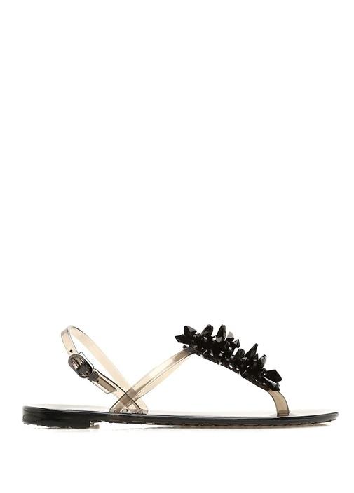 Eris Siyah Boncuk Detaylı Kadın Deri Sandalet