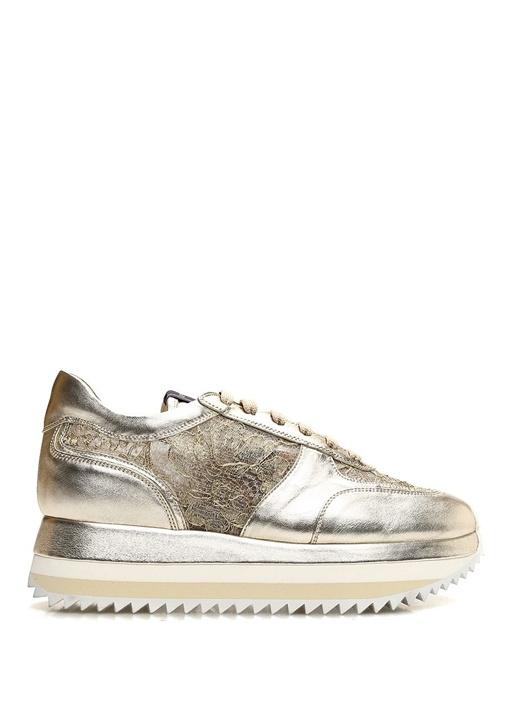 Claire Gold Dantel İşlemeli Kadın Deri Sneaker