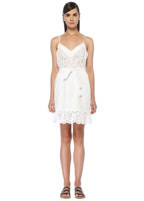 Sunflower Beyaz Delikli Nakışlı Mini Plaj Elbisesi