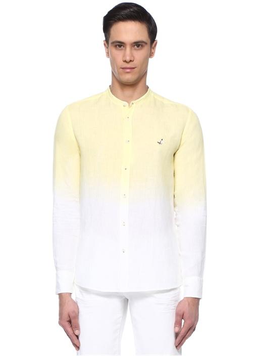 Slim Fit Sarı Beyaz Hakim Yaka Keten Gömlek