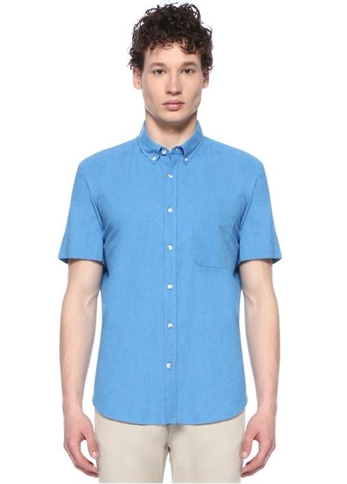 Custom Fit Mavi Düğmeli Yaka Gömlek