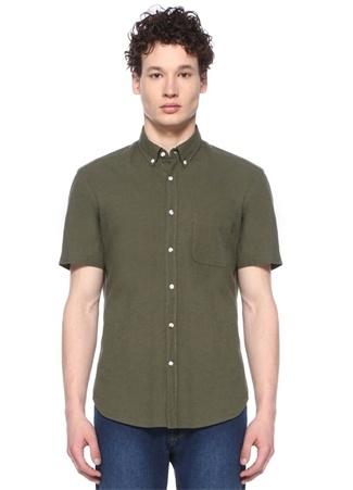 Custom Fit Haki Düğmeli Yaka Gömlek
