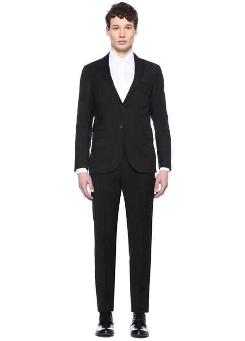 Drop 6 Siyah Kelebek Yaka Yün Takım Elbise