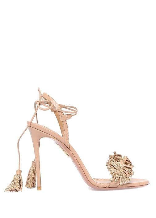 Wild Crystal Pudra Püsküllü Kadın Deri Sandalet