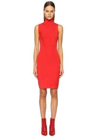 Knitss Kadın Pelham Kırmızı Dik Yaka Kolsuz Midi riko Elbise M