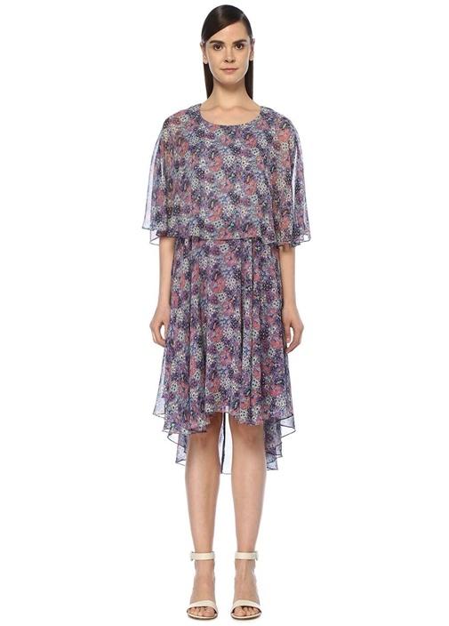 Lila Çiçek Desenli Pelerin Formlu Midi Elbise