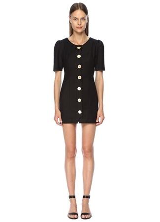 Finders Keepers Kadın Pompeii Siyah Metal Düğmeli Kısa Kol Mini Elbise XS EU