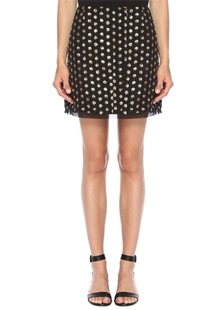 Finders Keepers Kadın Moonlight Siyah Gold İşlemeli Mini Tül Etek M EU