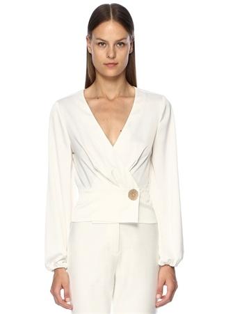 Finders Keepers Kadın Pompeii Beyaz V Yaka Anvelop Saten Bluz Bej XS EU