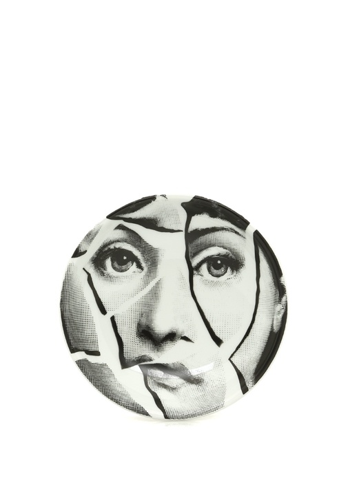 Siyah Beyaz Yüz Baskılı Porselen Kül Tablası