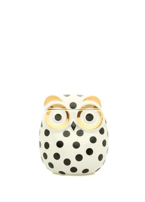 Beyaz Baykuş Formlu Porselen Dekoratif Kutu
