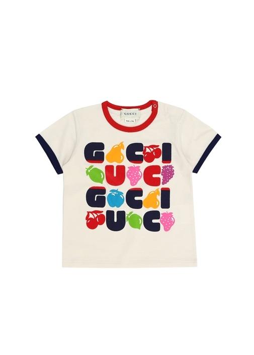 Bej Logo Baskılı Kız Bebek T-shirt