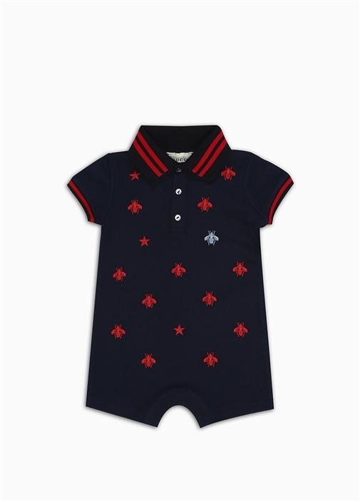 Lacivert Polo Yaka Nakışlı Erkek Bebek Tulum