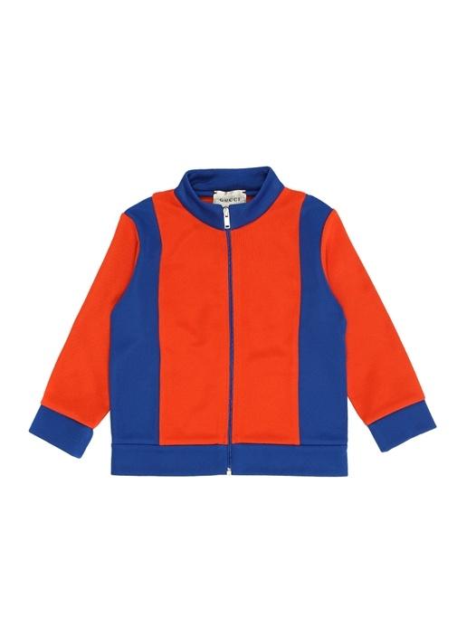 Mavi Turuncu Dik Yaka Erkek Bebek Sweatshirt
