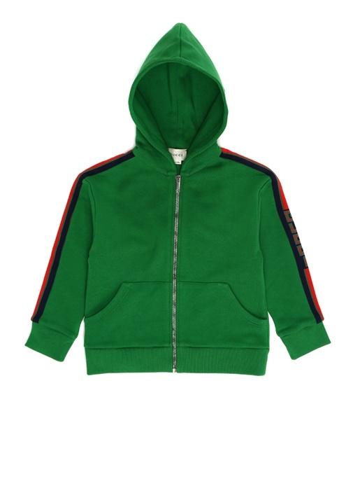 Yeşil Kapüşonlu Logolu Erkek Çocuk Sweatshirt