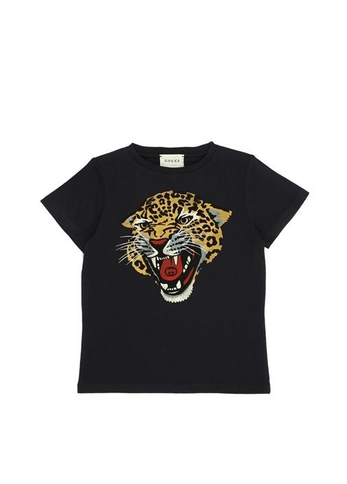 Antrasit Kaplan Baskılı Erkek Çocuk T-shirt