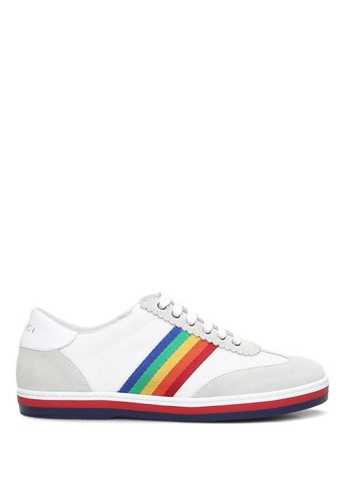 Beyaz Logolu Şerit Bantlı Çocuk Deri Sneaker