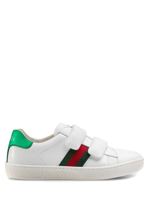 Beyaz Logolu Unisex Çocuk Deri Sneaker