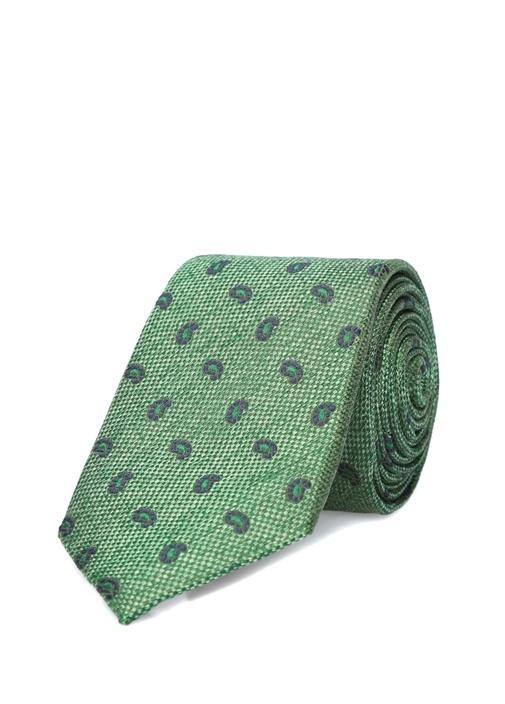 Yeşil Mikro Şal Desenli İpek Kravat