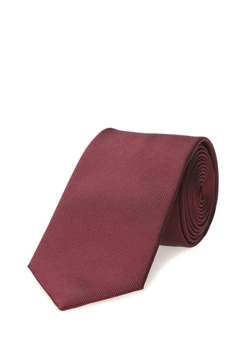 Bordo Çizgi Dokulu Kravat