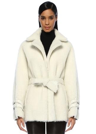 Lol Kadın Auroura Ekru Kelebek Yaka Kuşaklı Shearling Ceket Beyaz EU
