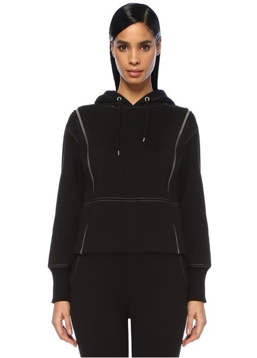 Siyah Kontrast Dikişli Çift Fermuarlı Sweatshirt