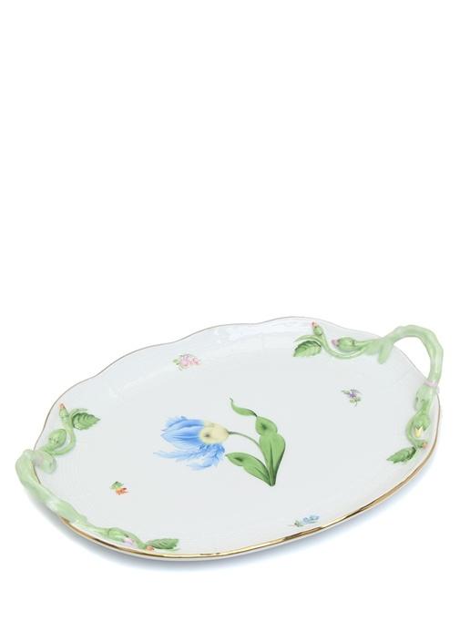 Çiçek Motifli Porselen Tepsi