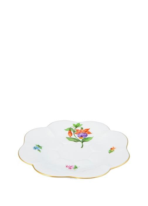 Çiçek Motifli Porselen Fincan Tabağı