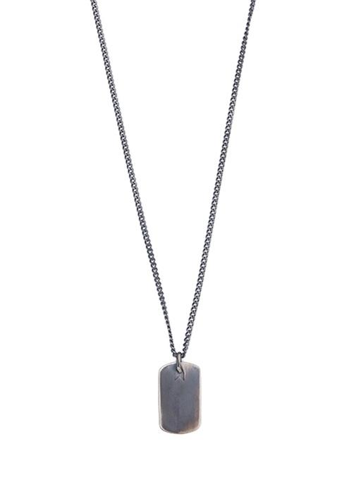 Siyah Plaka Formlu Sallantılı Erkek Gümüş Kolye