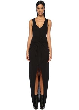 Allsaints Kadın Elke Vi Siyah V Yaka Yırtmaçlı Maksi Elbise L