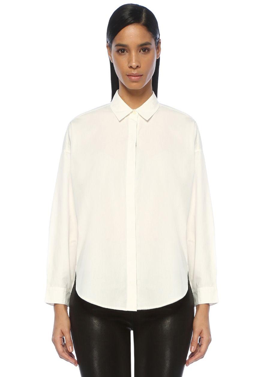 Allsaints Sada Beyaz Oversize Gömlek