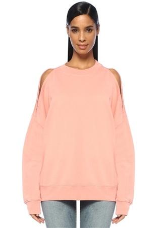 Allsaints Kadın Unai Pembe Omzu Açık Oversize Sweatshirt S