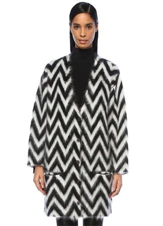 Loewe Kadın Siyah Beyaz Zikzak Desenli Oversize YünHırka S FR Ürün Resmi