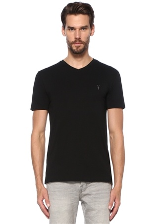 Tonic Siyah V Yaka Logo Nakışlı T-shirt