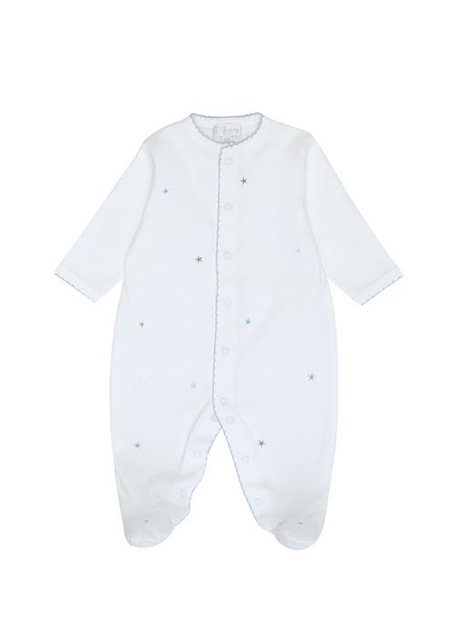 Beyaz Mavi Yıldız Nakışlı Erkek Bebek Tulum