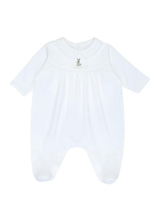 Beyaz Bebe Yaka Tavşan Nakışlı Erkek Bebek Tulum
