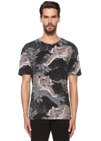 Allsaints Erkek Chokai Kaplan Desenli Basic -shirt Siyah XL Ürün Resmi