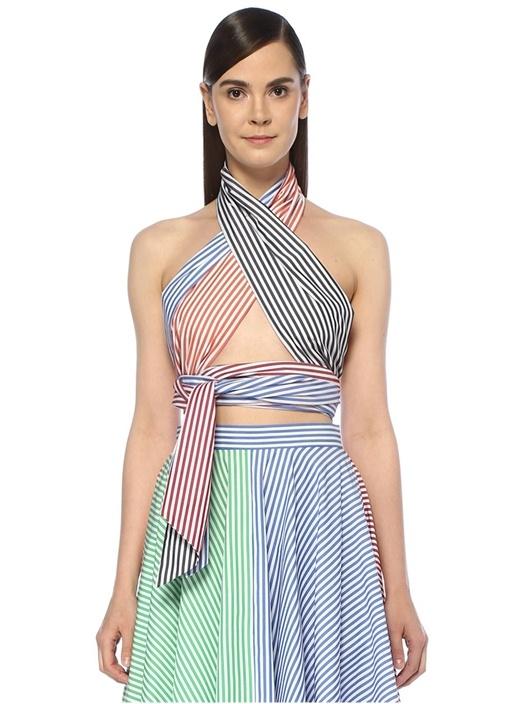 Everything Renkli Çizgili Bağlamalı Bluz