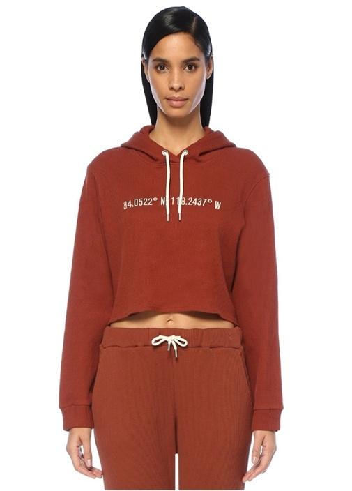 Los Angeles Kiremit Kapüşonlu Crop Sweatshirt
