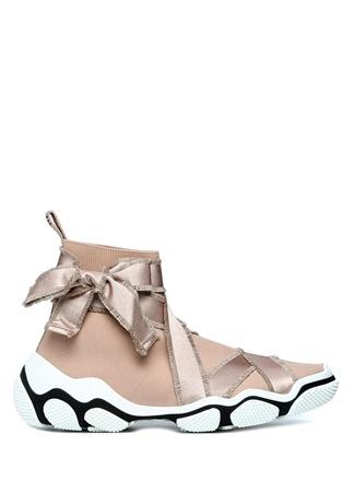 Glam Bej Şeritli Çorap Formlu Kadın Sneaker