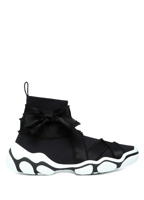 Glam Run Siyah Şeritli Streç Örme KadınSneaker