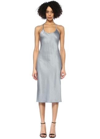 T by Alexander Wang Kadın Mavi V Yaka Sırtı Çapraz Askılı Midi Saten Elbise 4 US