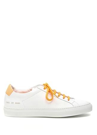 Common Projects Kadın Beyaz Turuncu Sayı Baskılı Deri Sneaker 4 EU