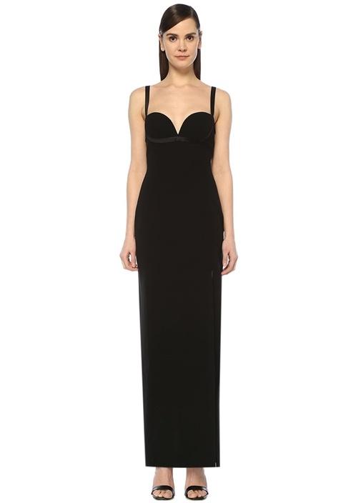 Siyah Kalp Yaka Yırtmaç Detaylı Maksi İpek Elbise